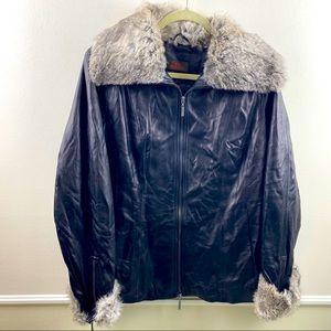 Danier genuine leather jacket with rabbit fur trim